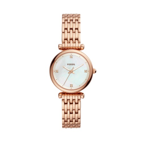 Fossil Carlie Mini Three-Hand Rose Gold-Tone Stainless Steel Watch ES4429