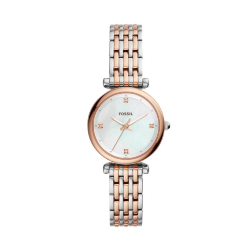 Fossil Carlie Mini Three-Hand Two-Tone Stainless Steel Watch ES4431