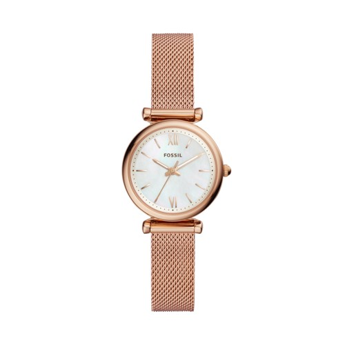 Fossil Carlie Mini Three-Hand Rose Gold-Tone Stainless Steel Watch ES4433