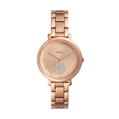 Fossil Jacqueline Three-Hand Rose Gold-Tone Stainless Steel Watch ES4438