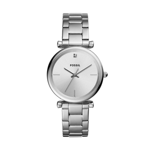 Fossil The Carbon Series Three-Hand Stainless Steel Watch ES4440
