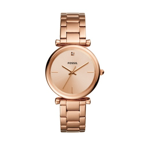 Fossil The Carbon Series Three-Hand Rose Gold-Tone Stainless Steel Watch ES4441