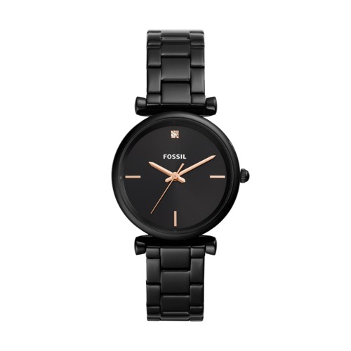 Carlie Carbon Series Three-Hand Black Stainless Steel Watch ES4442