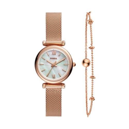 fossil Carlie Mini Three-Hand Rose Gold-Tone Stainless Steel Watch And Bracelet Box Set ES4443SET