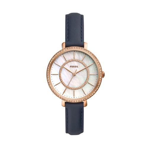 fossil Jocelyn Three-Hand Navy Leather Watch ES4456