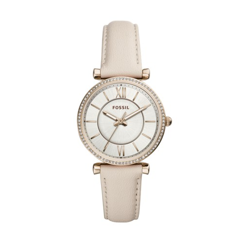 fossil Carlie Three-Hand Winter White Leather Watch ES4465