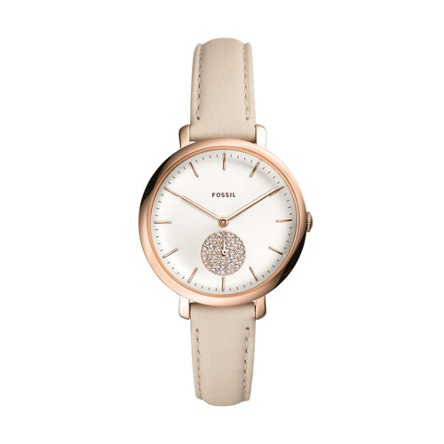 fossil Jacqueline Three-Hand Winter White Leather Watch ES4471