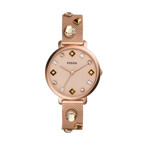 fossil Jacqueline Three-Hand Date Rose Gold-Tone Stainless Steel Watch ES4473