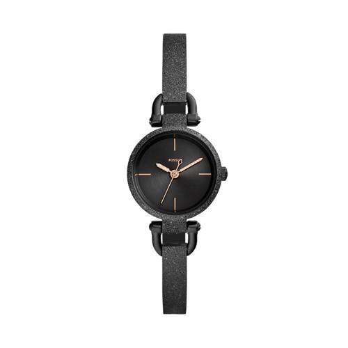 fossil Georgia Mini Three-Hand Black Stainless Steel Watch ES4480