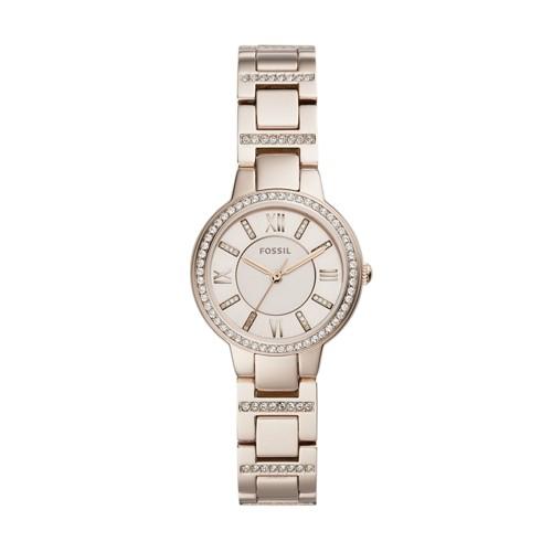 fossil Virginia Three Hand Pastel Pink Stainless Steel Watch ES4482