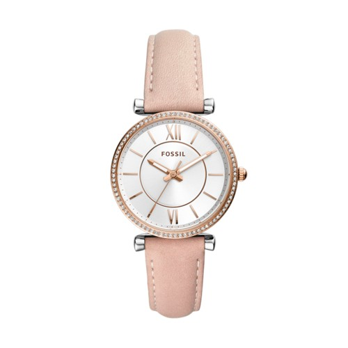 fossil Carlie Three-Hand Blush Leather Watch ES4484