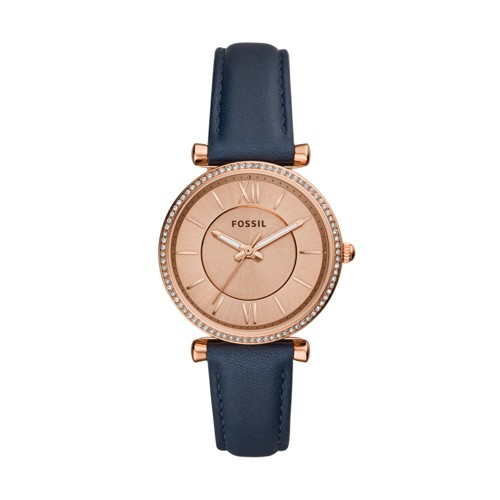 fossil Carlie Three-Hand Navy Leather Watch ES4485