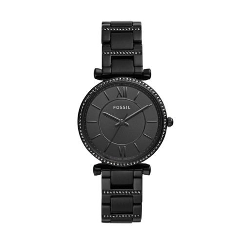 fossil Carlie Three-Hand Black Stainless Steel Watch ES4488