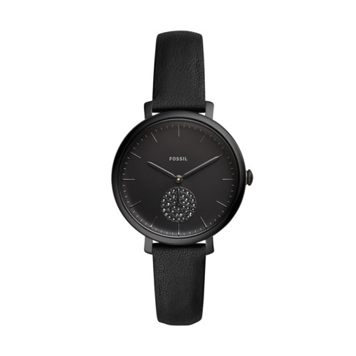 fossil Jacqueline Three-Hand Black Leather Watch ES4490