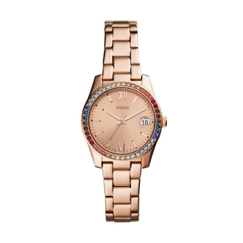 fossil Scarlette Mini Three-Hand Date Rose Gold-Tone Stainless Steel Watch ES4491