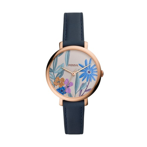fossil Jacqueline Three Hand Navy Leather Watch ES4493
