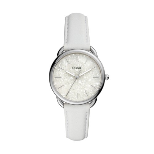 fossil Tailor Three-Hand White Leather Watch ES4495