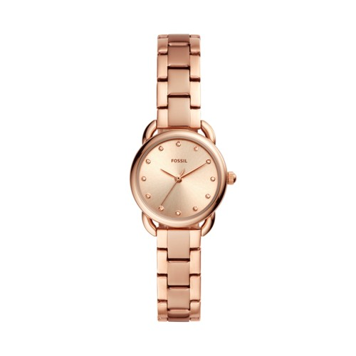 fossil Tailor Mini Three-Hand Rose Gold-Tone Stainless Steel Watch ES4497
