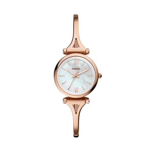 fossil Carlie Mini Three-Hand Rose Gold-Tone Stainless Steel Watch ES4500