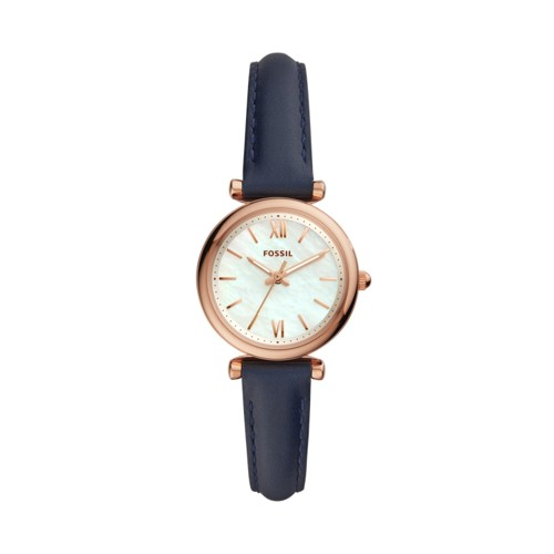 Carlie Mini Three-Hand Navy Leather Watch ES4502