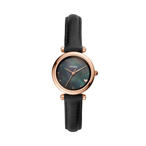 fossil Carlie Mini Three-Hand Black Leather Watch ES4504
