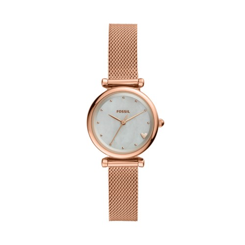 fossil Carlie Mini Three-Hand Rose Gold-Tone Stainless Steel Watch ES4505