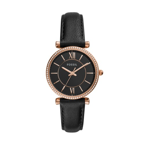 fossil Carlie Three-Hand Black Leather Watch ES4507