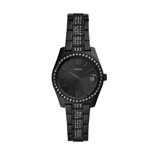 fossil Scarlette Mini Three-Hand Date Black Stainless Steel Watch ES4508