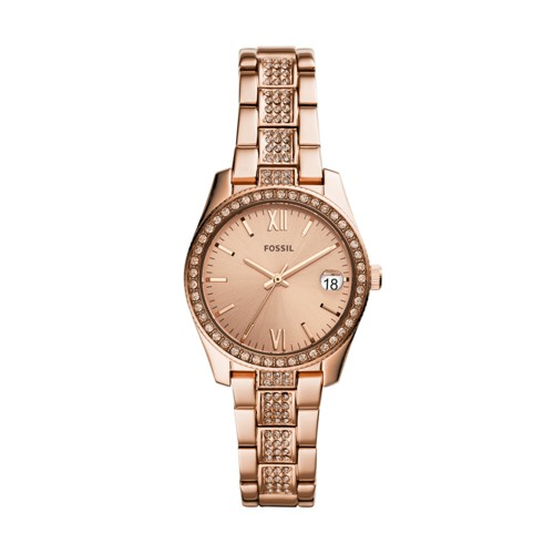 fossil Scarlette Mini Three-Hand Date Rose Gold-Tone Stainless Steel Watch ES4509