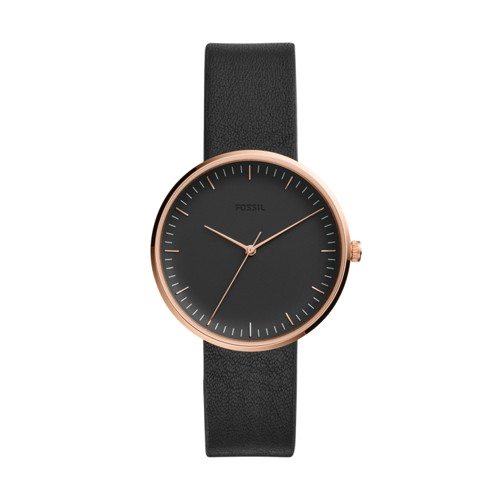 Essentialist Three-Hand Black Leather Watch ES4510