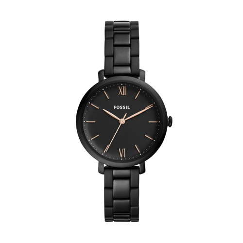fossil Jacqueline Three-Hand Black Stainless Steel Watch ES4511