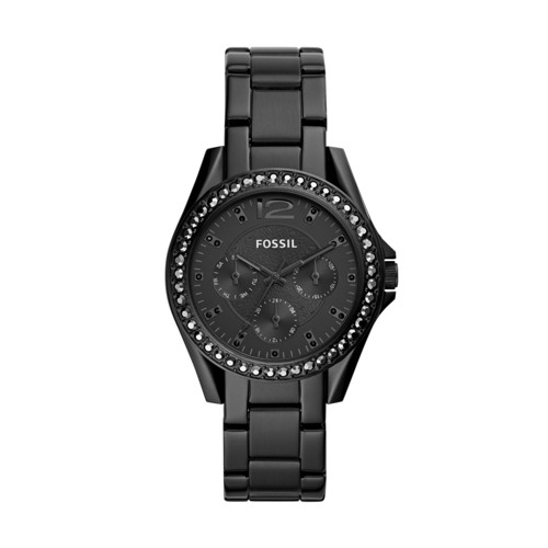 fossil Riley Multifunction Black Stainless Steel Watch ES4519