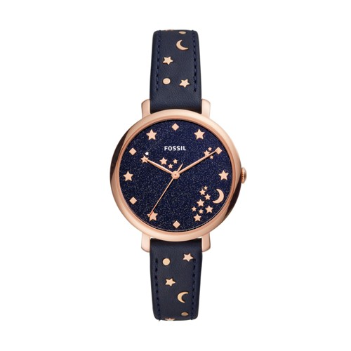 fossil Jacqueline Three-Hand Navy Leather Watch ES4521