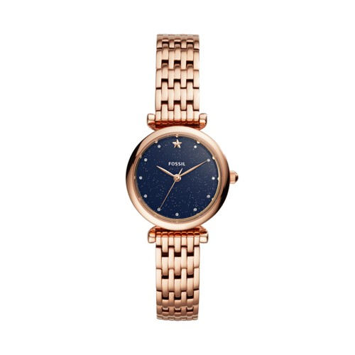 fossil Carlie Mini Three-Hand Rose Gold-Tone Stainless Steel Watch ES4522