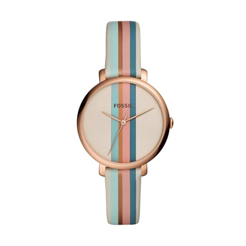 fossil Jacqueline Three Hand Multi-Colored Leather Watch ES4523