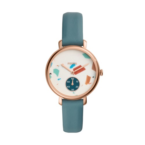 fossil Jacqueline Three-Hand Caribbean Teal Leather Watch ES4524
