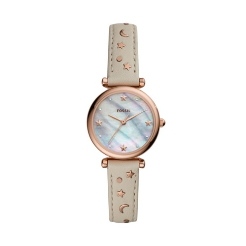 fossil Carlie Mini Three-Hand Winter White Leather Watch ES4526