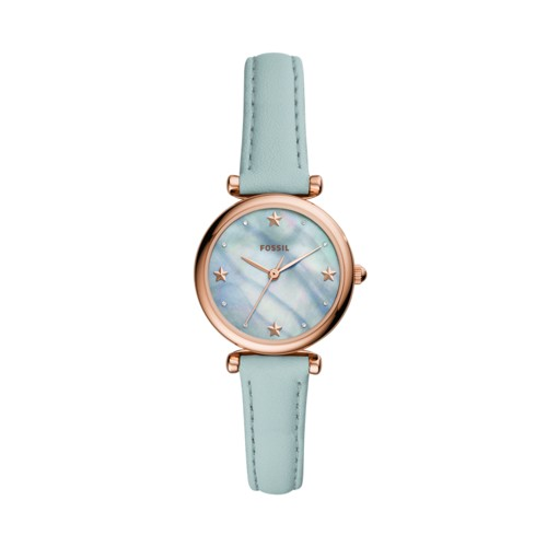 fossil Carlie Mini Three-Hand Aqua Leather Watch ES4528