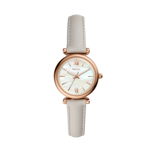 Carlie Mini Three-Hand Mineral Gray Leather Watch ES4529