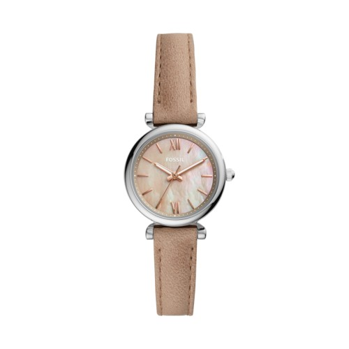 fossil Carlie Mini Three-Hand Sand Leather Watch ES4530