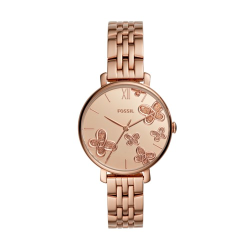 fossil Jacqueline Three-Hand Rose Gold-Tone Stainless Steel Watch ES4531