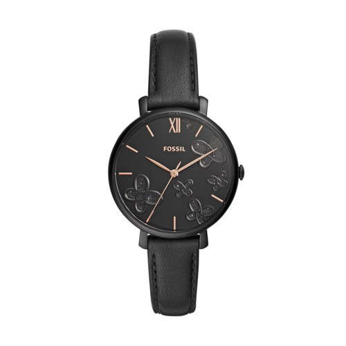 fossil Jacqueline Three-Hand Black Leather Watch ES4532