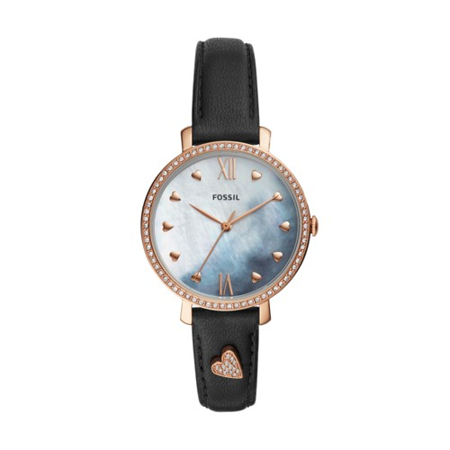 fossil Jacqueline Three-Hand Black Leather Watch ES4533