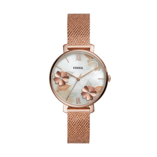 fossil Jacqueline Three-Hand Rose Gold-Tone Stainless Steel Watch ES4534