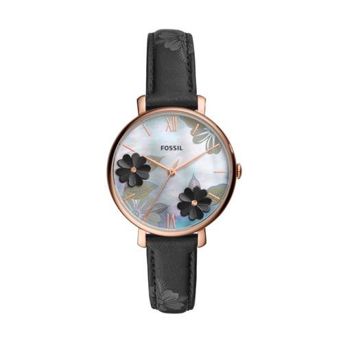fossil Jacqueline Three-Hand Black Leather Watch ES4535
