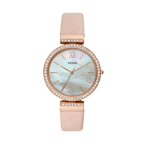 fossil Madeline Three-Hand Blush Leather Watch ES4537
