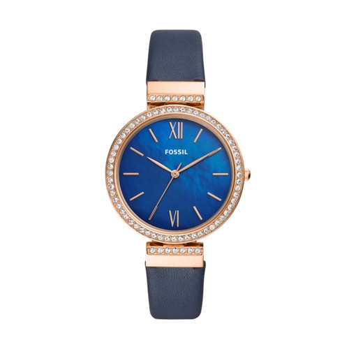 fossil Madeline Three-Hand Navy Leather Watch ES4538