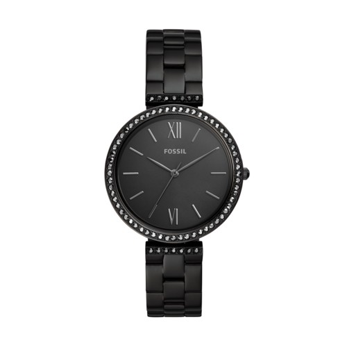 fossil Madeline Three-Hand Black Stainless Steel Watch ES4540