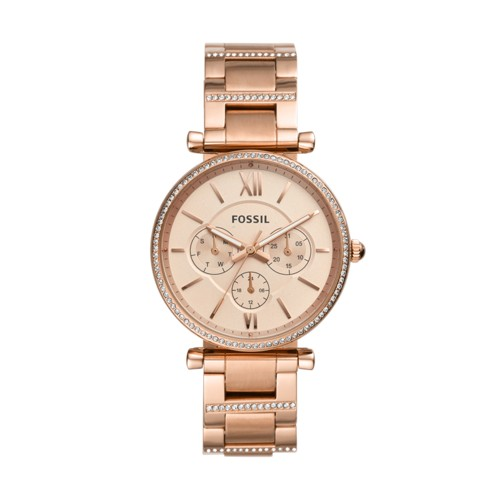 fossil Carlie Multifunction Rose Gold-Tone Stainless Steel Watch ES4542