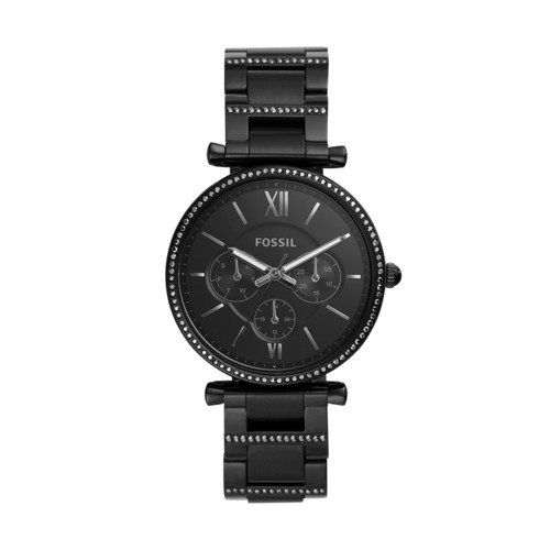 fossil Carlie Multifunction Black Stainless Steel Watch ES4543